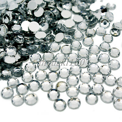 1000 Clear Crystal Flat Silver Back Diamante Rhinestones Gems 1.5 2 3 4 5 6mm