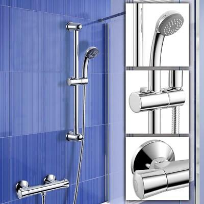 Exposed Thermostatic Bar Mixer Shower Valve Tap Chrome Bathroom Pole Set