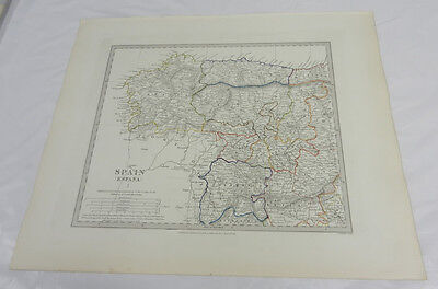 1831 Antique SDUK Color Map/NORTH WESTERN SPAIN/ESPANA/Hand-Colored