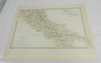 1830 Antique SDUK Color Map/ITALY, Part II (Southern)/Hand-Colored