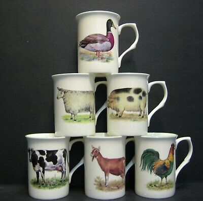 A SET OF 6 SIMPLE ANIMALS COW SHEEP DUCK GOAT Fine Bone China Mugs Cups Beakers