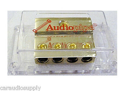 New 24kt Audiopipe 0 AWG Input To Four 4 AWG Output Power Distribution Block
