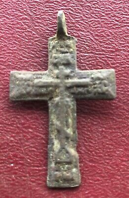 Authentic Antique 18th-19th Century Russian Orthodox Bronze Cross  U3-4