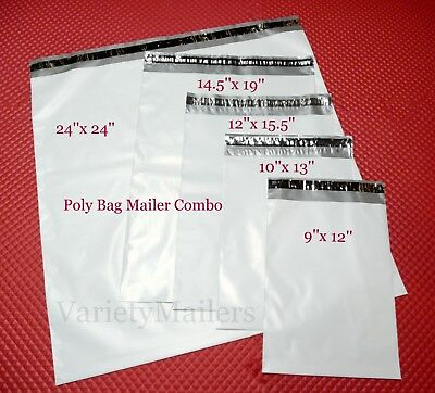 52 Poly Bag Envelope Mailer Variety Pack ~ 5 Size Assortment ~ Self-Sealing