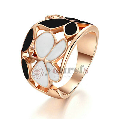 Enamel Flower Ring 18K Rose Gold Plated Black And White Color Butterfly Shape