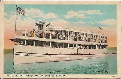 Steamer Pennsylvania on Conneaut Lake PA Postcard