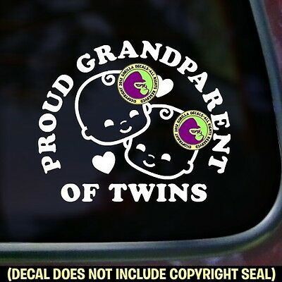 PROUD GRANDPARENT OF TWINS Sign Bumper Car Window Babies Vinyl Decal Sticker