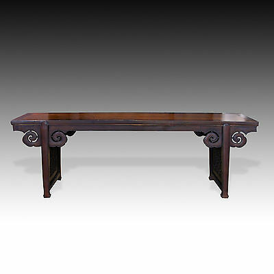Antique Chinese Carved Yumu & Baimu Wood Altar Table - Cloud Ruyi Motif 18Th C