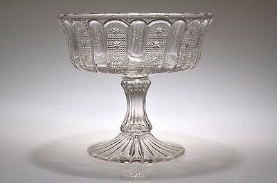 """#200 STIPPLED SWIRL and STAR 1902 by Various CRYSTAL 7"""" D Open Compote"""
