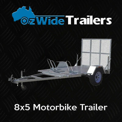 8 x 5 MOTORBIKE TRAILER BRAND NEW GALVANISED WITH UNIVERSAL RAMP - FULLY WELDED
