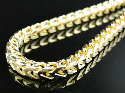 14k Yellow Gold Finish Solid Franco Box Cuban Necklace Sterling Silver 5 mm 38in
