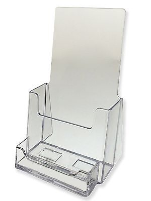 "Qty 15 Clear Tri Fold Brochure Business Card Holders Holds 4"" Wide Free Shipping"