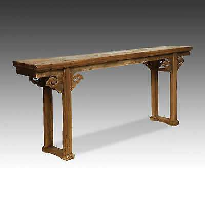 Large Chinese Carved Lacquered Elm Wood Altar Table - 18Th C - Solid Piece Top!