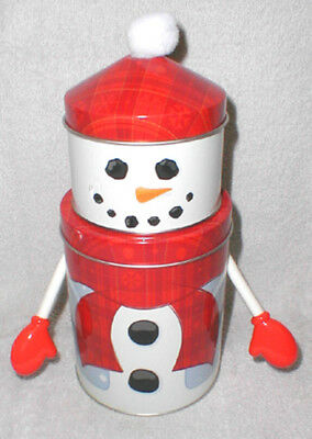 Small Stacked Canister Snowman Tin With Arms - Red!!!