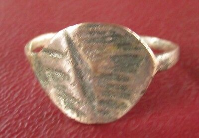 Authentic Ancient Artifact   BRONZE FINGER RING Sz: 8 US 18mm  11157 DR