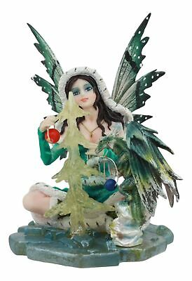 "Winter Fairy with Blizzard Dragon on Icy Lake Sculpture Fairyland Legends 6""H"