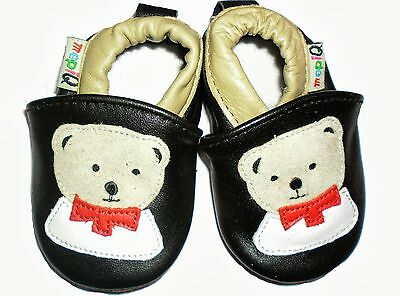 Baby Toddler Boys Girls Soft soled Leather Shoes Black  Teddy Bear gift