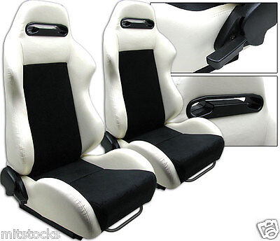 2 White & Black Racing Seats Reclinable + Sliders All Pontiac New *