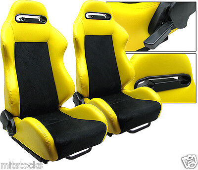 2 Yellow & Black Racing Seats Reclinable + Sliders All Pontiac New *