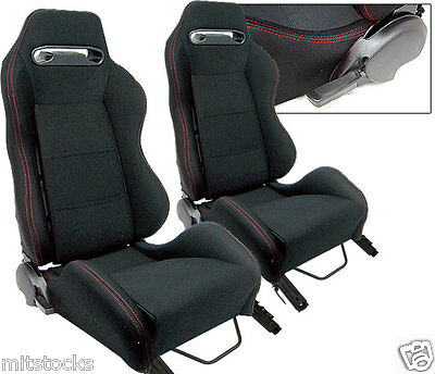 2 Black Cloth + Red Stitch Racing Seats Reclinable + Sliders Pontiac New *