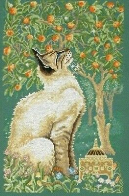 """Lesley Anne Ivory Cats Cross Stitch Kit - Frankincense - 14 Count - 13.75 x 8.5"""""""