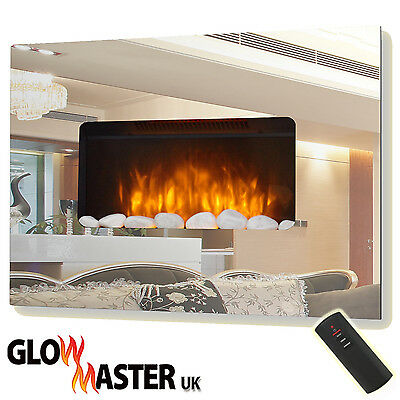 Electric Fire Fireplace Wall Mounted Mirror Glass Flicker Flame Home Slim Heater