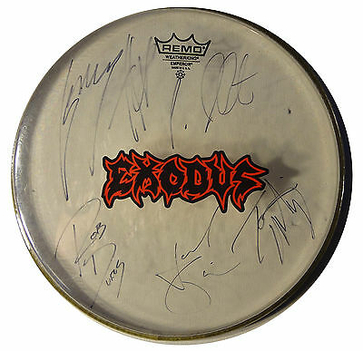 "Signed Exodus Autographed 12"" Drumhead By All W/pics"