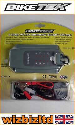 Biketek Motorcycle Motorbike BATTERY Trickle charger 6v 12V 0.8A UK plug BCH016