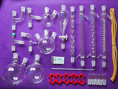 New Lab Chemistry Glassware kit,Laboratory Glassware Set With 24/29 Joints