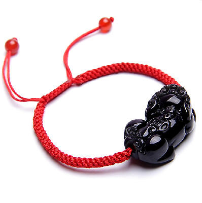 Feng Shui Obsidian Pi Yao / Pi Xiu  Xie bracelet amulet for wealth and good luck