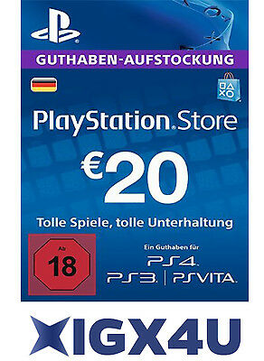 Playstation Network Card 20€ PSN 20 Euro Playstation Prepaid Key Sony PS3 PS4 DE
