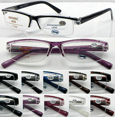 L146 High Quality Unisex Semi-Rimless Reading Glasses Spring Hinges Very Stylish