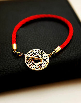 Feng Shui red bracelet amulet  with Chinese ancient fortune coin for wealth