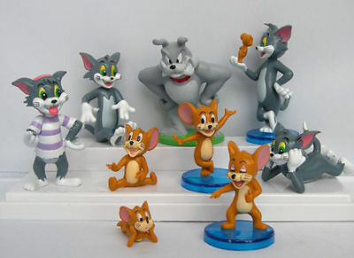 Tom & Jerry Figure Toys Cake Topper Set of 9pcs Figurine Collection Cute UK