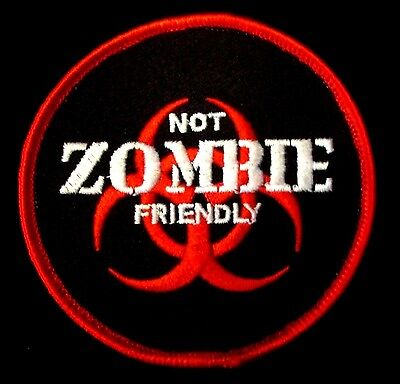 NOT ZOMBIE FRIENDLY THE WALKING DEAD OUTBREAK TACTICAL HUNTER RED VELCRO PATCH