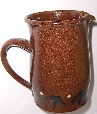 """Excellent Handcrafted Rustic Ceramic Pitcher 6"""" Tall Brown Pottery"""