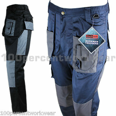 "Blackrock Mens Cargo Combat Work Wear Trousers Pants Knee Pad Pockets 30"" to 44"""