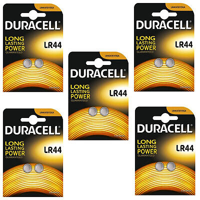 10 Duracell LR44 Battery AG13 357 A76 RW82 L1154 SR44 AG 13 Coin Cell Batteries