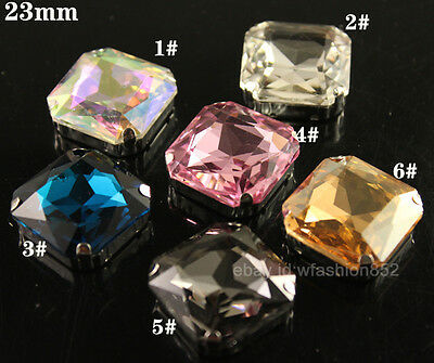 15pcs Rhinestone 23mm Sew On Foiled silver plated Square Fancy Crystal beads