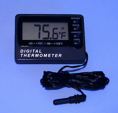 Digital Aquarium Thermometer W/ 10' External Sensor