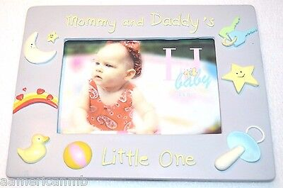 Baby Girls Photo Frame 4x6 Mommy and Daddy's Little One 3D Pastel Purple