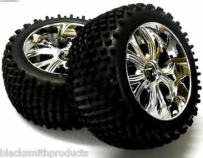 BS701-003A 1/10 RC Buggy Off Road Wheels and Tyres REAR Chrome