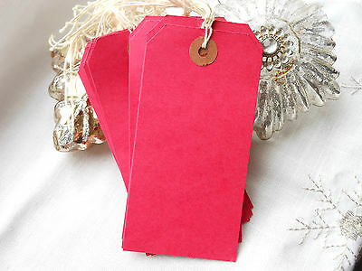 20 Large Red Blank Christmas Gift Tags Strung Red Luggage Labels