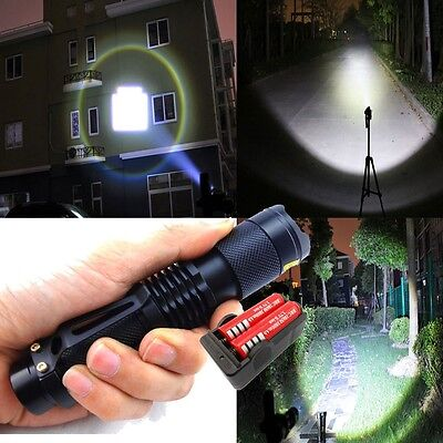 1600lm Zoomable CREE XM-L T6 LED Flashlight Torch + 2pcs 18650 Battery + Charger