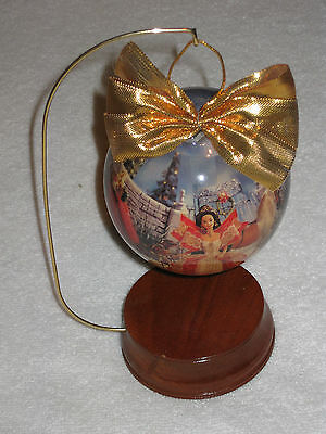 """1997 Holiday Barbie 4"""" Decoupage Ball Ornament With Wooden Hanger Stand Pink Box"""