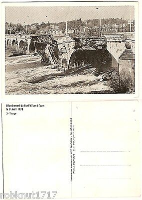 CPSM postcard collapsed bridge 1978 catastrophe Effondrement Pont Wilson TOURS A