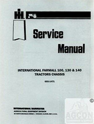 Farmall International 100 130 140 Tractor Chassis Shop Service