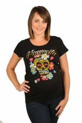 Hot Mama Ink Mamacita Maternity Tee Alternative Tattoo Punk T-Shirt Sugar Skull