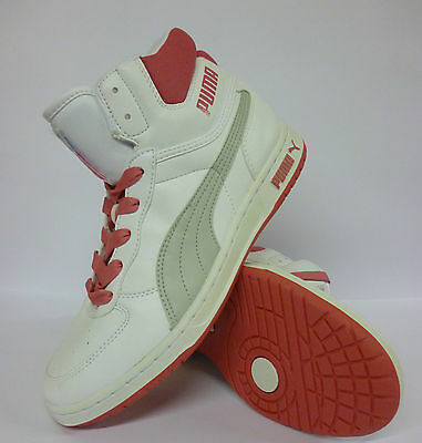Puma Hi Top Womens Girls Trianers White Pink Grey Size 5 New £19.99