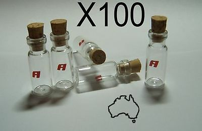 100 x 2cc CLEAR GLASS BOTTLE / VIAL / WITH CORKS - NEW